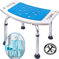 Medokare Shower Stool with Padded Seat - Shower Seat for Seniors with Tote Bag, Shower Bench Bath Chair, Handicap Shower Seats for Adults (White Stool)