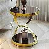 Desk Xiaolin Moderner gerundeter Tabellen-Telefon-Tisch des rostfreien Stahls ausgeglichenes Glas-Sofa-Beistelltisch-Freizeit-Kaffeetisch (Farbe : Gold, größe : 48 * 50cm)
