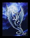 Kleine Leinwand Silberdrache | Silver Dragon 25 x 19 cm | Anne Stokes Age of Dragons | Drache Fantasy Bild Poster