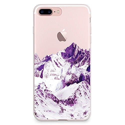"CasesByLorraine, für iPhone 7 (4.7""), transparentes, flexibles TPU Soft Gel Back Cover | Back Case | Rückenschale | Hülle, Muster Wood Print Coral Pink Geometric Striped (G02) A18"