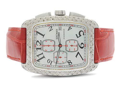 Locman 487 Watch Sport Tonneau Diamond White and Red Strap