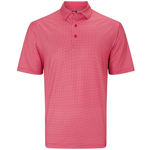 Callaway Golf 2018 Mens Opti-Dri Gingham Tour Logo Polo Shirt Raspberry Large (Shirt Golf Logo)