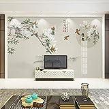 zxcv Wallpaper 3D Hand Gezeichnet Feine Pinselarbeit Blume und Vogel Wallpaper, Wohnzimmer Studie, TV Rückwand, Retro Art Wallpaper,300cmx210cm
