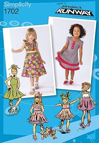 Simplicity Sewing Pattern 1702–Patrons de robes et l'enfant-Project Runway Collection tailles : BB 4–5- (6–8 ans)