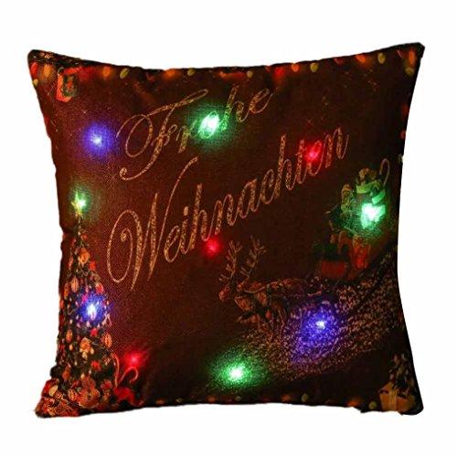 Weihnachten Farbe LED-Licht Kissen Fall, vneirw Home Dekoration Creative drucken Kissen Kissen, h, 18x18 inch (Faux-pelz-luxus-werfen)