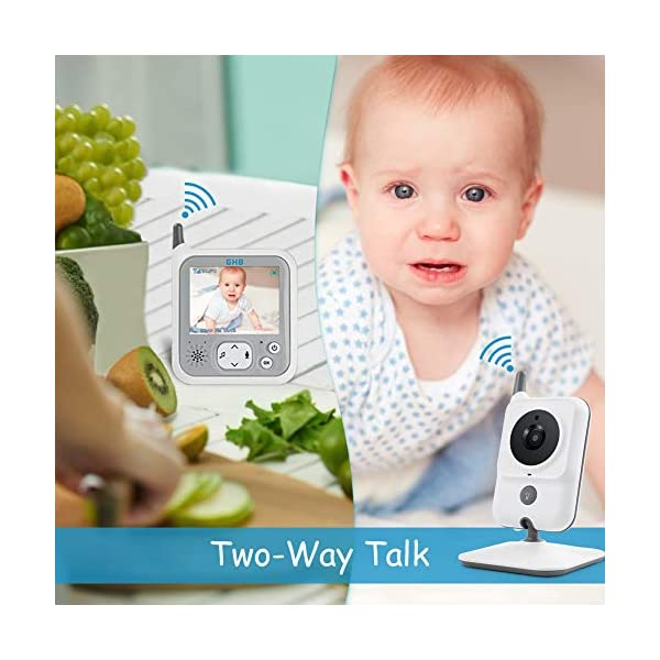 GHB Baby Monitor Video Baby Monitor with Camera 3.2 Inch Handheld Parent Unit Infrared Night Vision Room Temperature Display 2-Way Talk Baby Lullabies GHB Portable Parent Unit - with the wireless 3.2'' display, new parents can monitor their lovely baby clearly in the living room, kitchen or any place in the signal range Infrared Night Vision - you can keep eye on your baby at night in your bedroom and no need to go to the baby room, which avoids waking up your baby VOX Mode (power saving mode) - under VOX mode, if baby camera detects a sound over a certain threshold in the baby room, the video display will turn on automatically, and then will turn off when the baby room is silent to save the battery power 3