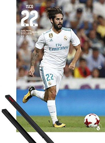 1art1® Póster + Soporte: Fútbol Póster (91x61 cm) Real Madrid, ISCO Y 1 Lote de 2 Varillas Negras
