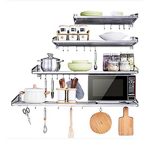YANZIFEI acero inoxidable cocina Multicapa Estante de almacenamiento giratorio Instalación adhesiva de...