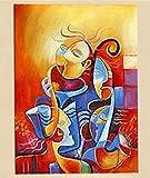 HANHAIBO Wall Art Bild Hand-Painted Bunte Abbildung Ölgemälde auf Leinwand Abstrakte Gesichter Acrylbilder Handgefertigten Tapeten, 60 X 90 Cmx 1 Pc Unframed