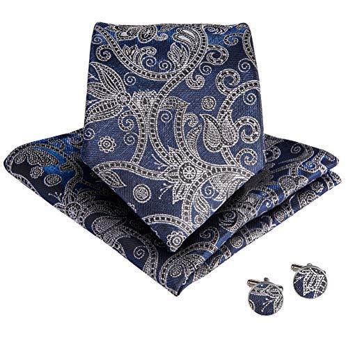 KYDCB Männer Blau Grau Floral Krawatten Für Männer Einstecktuch Manschettenknöpfe Krawatten Top Designer Business Hochzeit Krawatten Set Paisley Designer