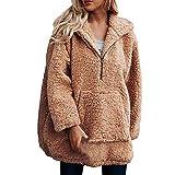 iHENGH Sweatshirt Damen,Women Herbst Winter Warmer KüNstlicher Wollmantel Kapuzen Schrank Sweatshirt Winter Parka Outerwear (Khaki,EU-44/CN-3XL)