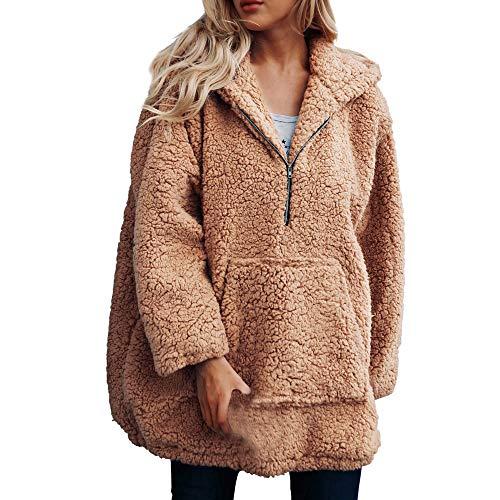 iHENGH Sweatshirt Damen,Women Herbst Winter Warmer KüNstlicher Wollmantel Kapuzen Schrank Sweatshirt Winter Parka Outerwear (Khaki,EU-42/CN-XXL) Mia Womens Sweatshirt