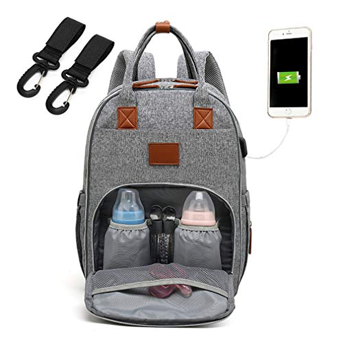 Große Kapazität Babytasche Wasserdicht Oxford Baby Wickeltasche Wickelrucksack mit USB-Lade Port 30cm*22cm*44cm (Grau)