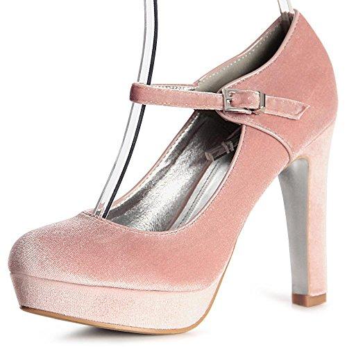topschuhe24 - Zapatos de vestir de tela para mujer, color rosa, talla 38 EU