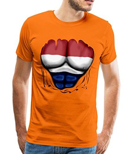 Spreadshirt Niederlande Flagge Muskel Männer Premium T-Shirt, XL, (Holland Holländische Kostüme)