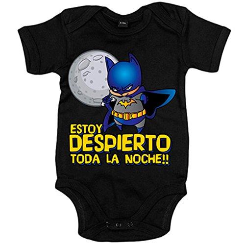 Body bebé Batman Estoy despierto toda la noche - Negro, 6-12 meses