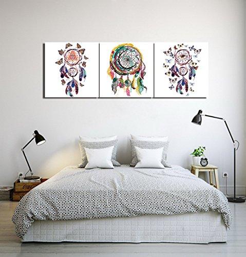 Atrapasueños plumas imagen colorida_Cuadro de pintura al óleo moderna Impresión de la imagen en la lona Arte de la pared para la sala de estar,Dormitorio,decoración del hogar,3 piezas 40x40,con marco
