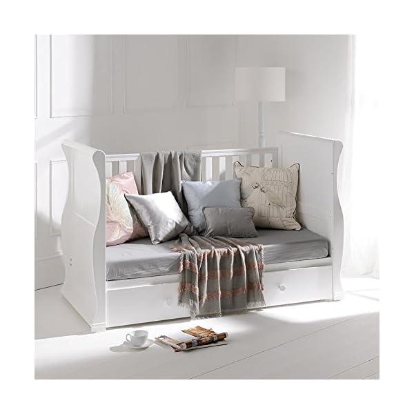 East Coast Alaska Sleigh 2 Piece with Luxury ECO Fibre Mattress - White/Grey East Coast  2