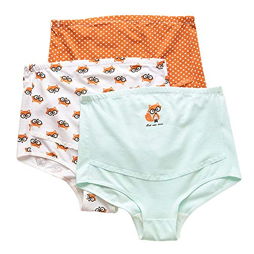 Feoya Schwangerschaft Unterwäsche Baumwolle Umstandsmode Slip Einstellbare Hohe Taillen Unterhose Bauch Unterstützung Höschen Schlüpfer Panty 3er Pack - L (Asiatische Unterwäsche)