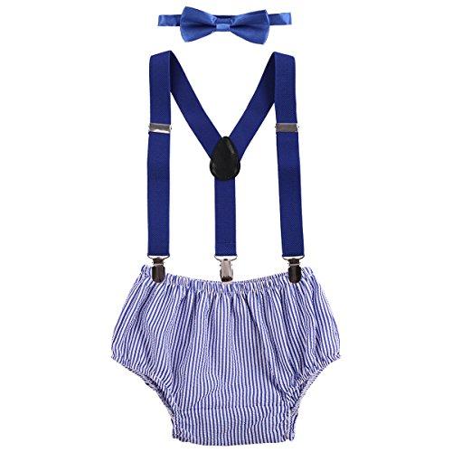(OBEEII Baby 1. / 2. Geburtstag Outfit Neugeborenen Kinder Bloomer Shorts + Fliege + Clip-on Hosenträger 3pcs Bekleidungssets für Foto-Shooting Kostüm für Säugling Jungen Mädchen Unisex 3-24 Monate)
