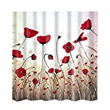 Picture Of MagiDeal Multi-design Shower Curtain Waterproof Mildew Resistant with 12 Hooks - Red Flora, 180cm