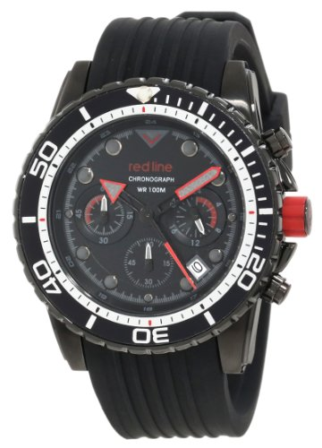 Red Line Men's Piston 44mm Chronograph Black Silicone Band IP Steel Case Quartz Date Watch 50034-BB-01