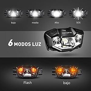 VicTsing Frontal Led USB Recargable, 6 Modos de Luces, 6 HORAS de Emisión Continua (1000mAh Batería) y IPX6 Impermeable, Para Acampar, Pescar, Aire Libre y Etc.(Muy Ligero : 68 g)