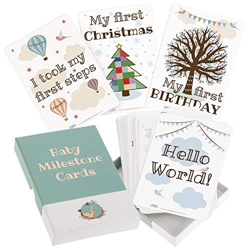 50 Baby Milestone Cards by Nested Fox | Unisex Photo Cards in a Keepsake Box | Gift for a Boy or a Girl | Including 5 Personalised Memory Cards