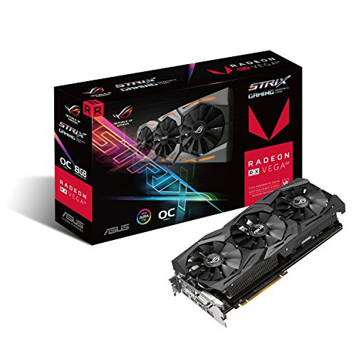 Asus ROG-STRIX-RXVEGA64-O8G-GAMING Scheda Video, Nero
