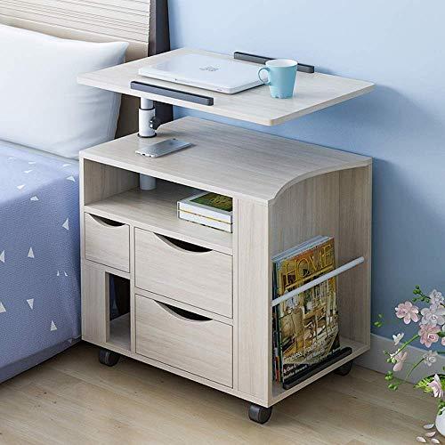 Ahorn-set Schrank (ZGONGLQQ Nachttische, einfach anhebbarer mobiler multifunktionaler Nachttisch aus Holz mit großer Kapazität, geeignet für Wohn- / Schlafzimmer/Arbeitszimmer, 4 Farben erhältlich (Farbe: Weißes Ahorn))