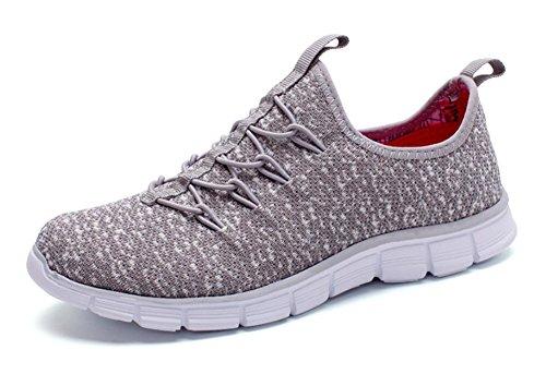 chaussures en maille respirante chaussures de sport occasionnels chaussures de course chaussures maille étudiant Voyage Flats Mme ascenseur automne Grey