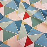 Stoff Meterware Baumwolle Art Deco Grafik türkis rot gold Dreiecke Dekostoff Vorhang Tischdecke