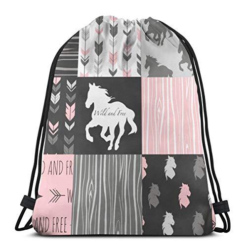 Pferd Patchwork - Pink und Schwarz - Wild und Free Horses_320 Drawstring Rucksack Rucksack Umhängetaschen Leichte Sporttasche zum Wandern Yoga Gym Schwimmen Travel Beach