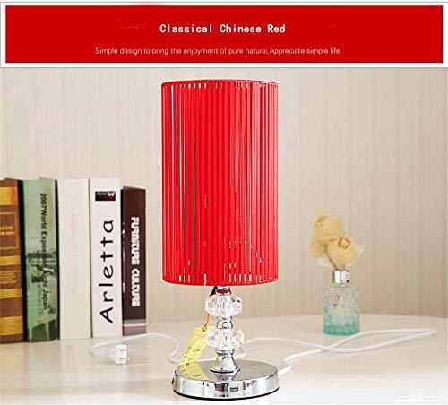XSSD001 Moderne Lampe Kreativ/Modern Minimalista Mode Schlafzimmer Kreativ Kopflampe Tischlampe Studie Nachttisch Silber Lampe roter Tisch, rot -