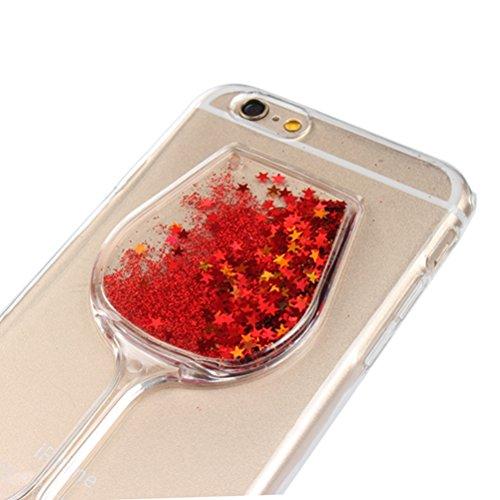 Vioela - Custodia glitterata ultraslim, trasparente, 3D, motivo calice di vino, in gomma TPU morbida, con brillantini fluttuanti a forma di stella e liquido, per iPhone 6/6s con display da 4.7, penni #3