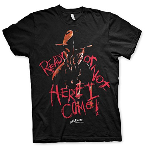 Merchandise A Nightmare On elm Street - Here I Come T-Shirt (Black), Medium (Lustig, Beängstigend Masken)