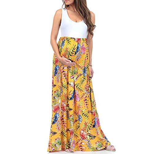 Damen Umstandskleid,Frauen Mutterschaft Ärmellos Geraffte Hülle Color Block Maxikleid Abendkleider Für Schwangere Sommerkleider Strandkleider Schwangerschaftskleid -