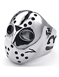 Polished Stainless Steel Men's Ring, Halloween Jason Mask Band, Silver Black with Gift Bag