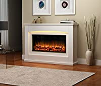 Danby Electric Fireplace Suite Glass fronted electric fire 220/240Vac, 1&2kW with multi function remote control in a very light cream MDF fireplace suite.