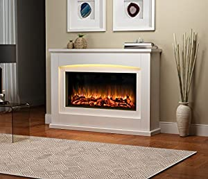 Danby Electric Fireplace Suite Glass fronted electric fire 220/240Vac, 1&2kW, 7 day Programmable remote control in an Off White MDF fireplace suite.