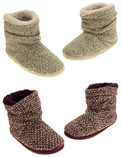 Femmes Coolers chaud hiver tricoté fourrure doublé bottes pantoufle