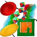 Kit de jonglerie 2 Assiettes tournantes avec baguettes en plastique, 6 Foulards à jongler et 2 lots de 3 balles de Jonglage avec un sac de rangement en nylon. Coloris aléatoire