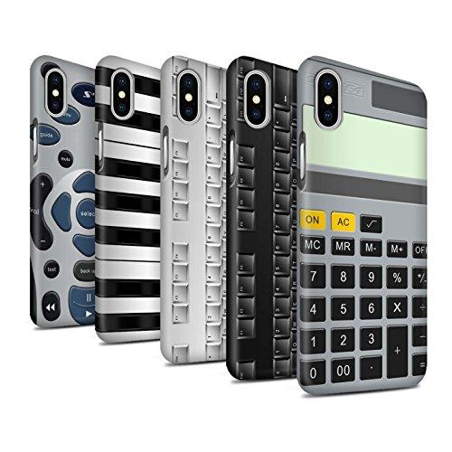 STUFF4 Matte Snap-On Hülle / Case für Apple iPhone X/10 / Tastatur Muster / Schaltfläche/Tasten Kollektion Pack 5pcs
