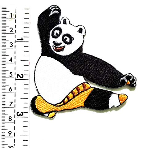 Panda Kung Fu Panda Japan Cartoon Kinder Patch Weste Jacke Biker Motorrad Rider Biker Tattoo Jacke T-Shirt Aufnäher Aufbügler Aufbügler (Nähen Sie Ein Panda Kostüm)