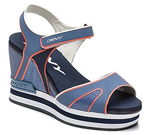 Ladies Sandals DKNY Ines Sport Mold Mesh Platform Sandals (5.5 UK EU 38.5 US 8, Grey Blue)