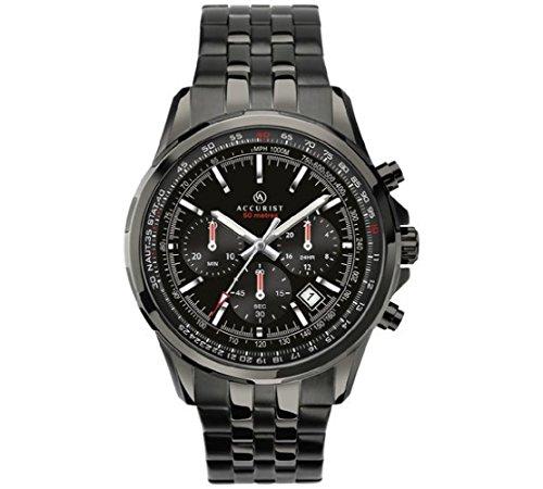 Accurist pour homme Noir IP en acier inoxydable Bracelet de montre