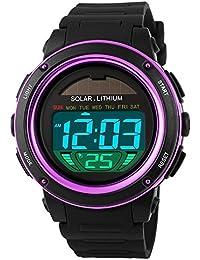 TONSHEN Unisex Solar Digitales Relojes Moda LED Outdoor 50M Resistente Agua Deportivos Plástico Bisel Y Correa