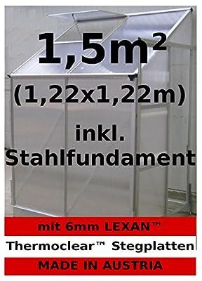1,5m² Profi - Anlehn Gewächshaus Anlehngewächshaus Glashaus m. 6mm Hohlkammerstegplatten - (Platten MADE IN AUSTRIA) inkl. Stahlfundament von AS-S von AS-S auf Du und dein Garten