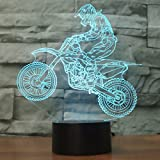 3D Optical Illusion Lampe LED Nachtlichter Motocross Modell, LSMY Touch Tischlampe Haus Dekoration 7 Farben Einzigartige Lichteffekte 1.5m USB Kabel zum Kinder Geschenk