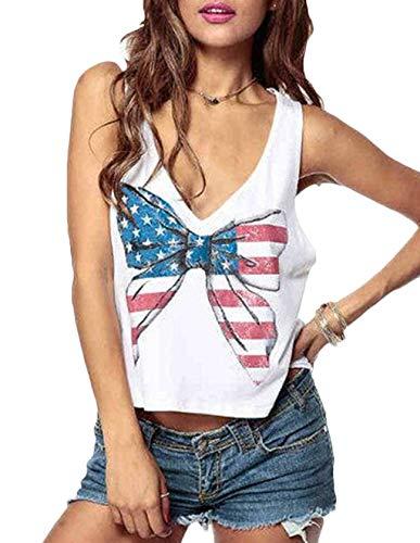Schmetterling Weiß Tank Top (Crop Tops Damen Sommer, Teenager Mädchen Sexy V-Ausschnitt USA Flagge Schmetterling Ärmelloses Bauchfrei Tank Tops Frauen Herz Rückenfrei Weste Bluse Kurze Oberteil Hemd T-Shirt Cami Shirt (Weiß,2XL))